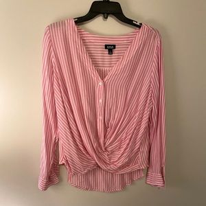 A.n.a. Women's button-up ruched blouse